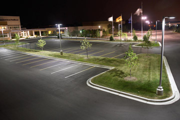 Parking lot with bright exterior lighting