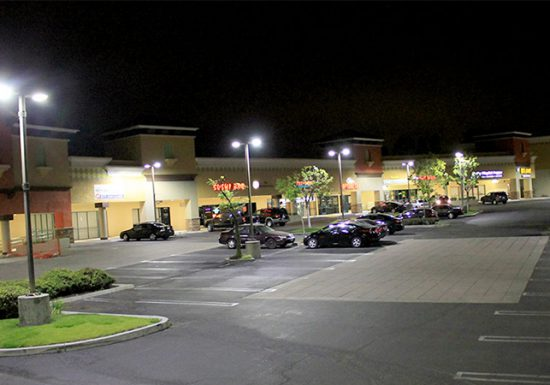 Parking lot with LED lighting