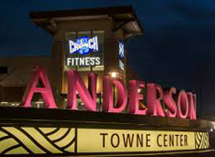 Anderson Towne Center large sign at night