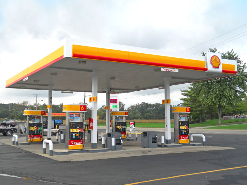 View of Shell fuel pumps and canopy