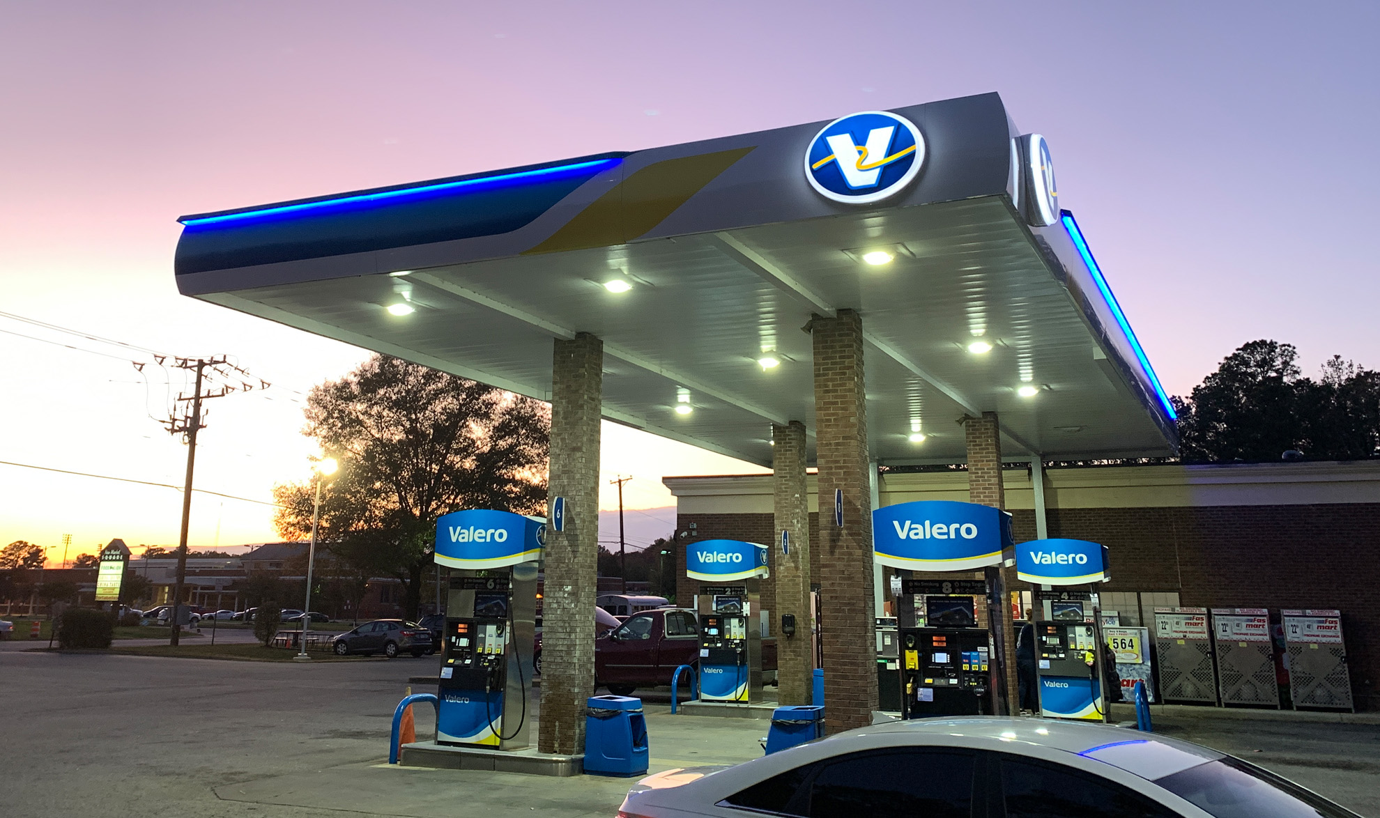 Valero fuel pumps and canopy with lighting